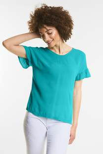 Shirt met volantmouwen