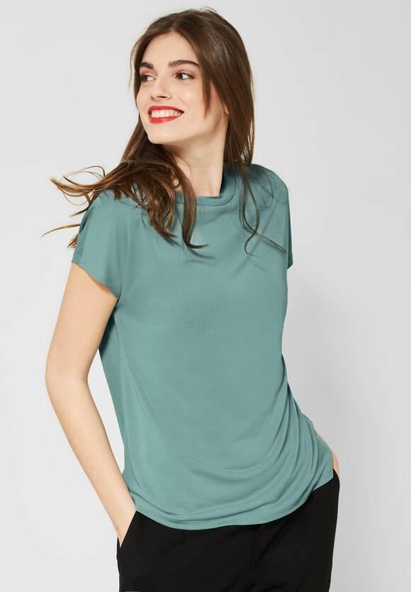 Kurzarm Basic-Shirt mit Raffbund Sommer-Shirt SHIRTS luftig leicht locker