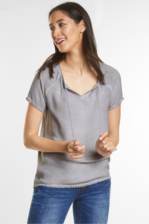 feminines shirt mit borten lunar grey street one. Black Bedroom Furniture Sets. Home Design Ideas