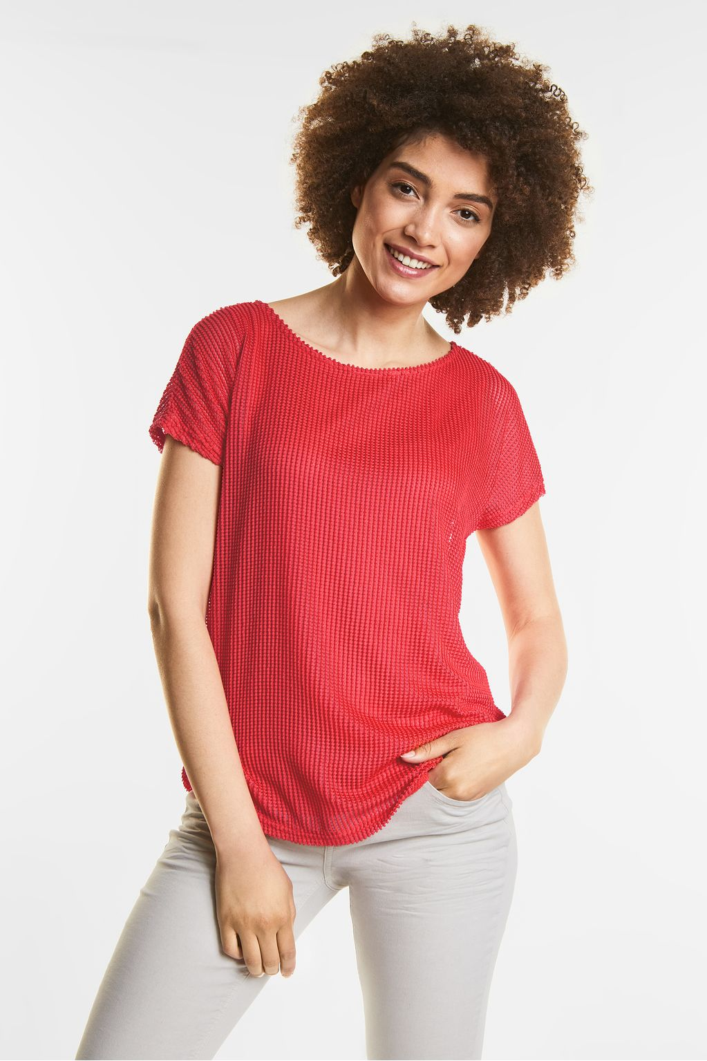 T-shirt dÆaspect filet - hibiscus red