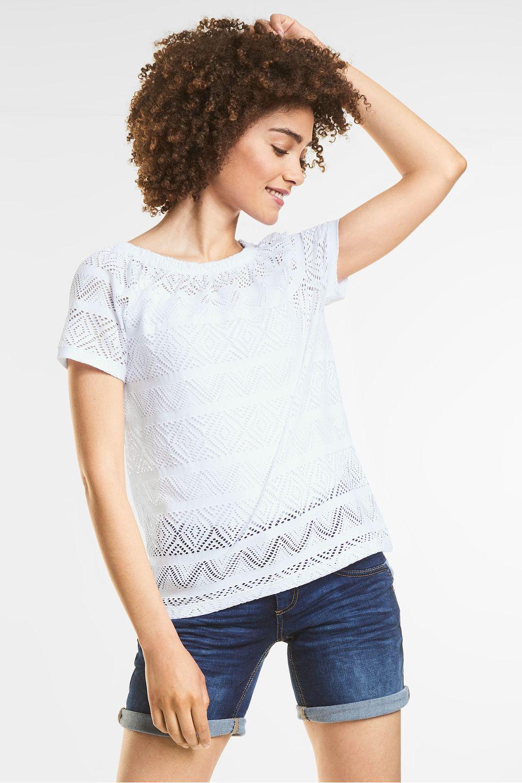 Vrouwelijk structuurshirt  - White
