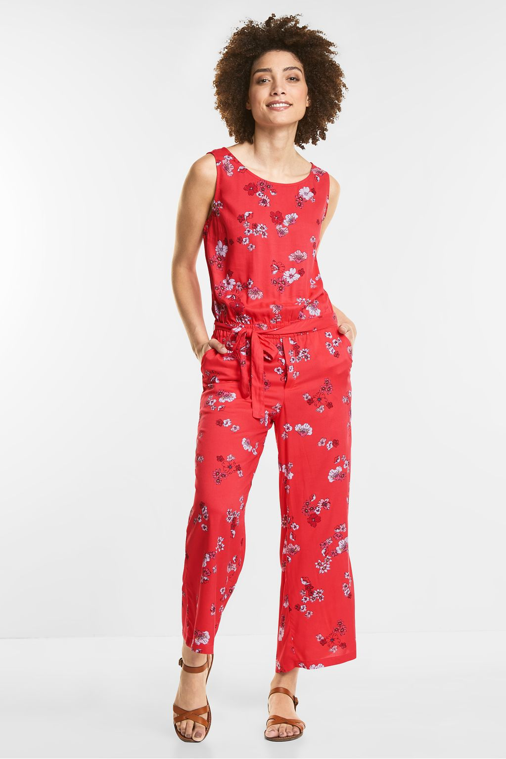 Flower-Print Jumpsuit - hibiscus red
