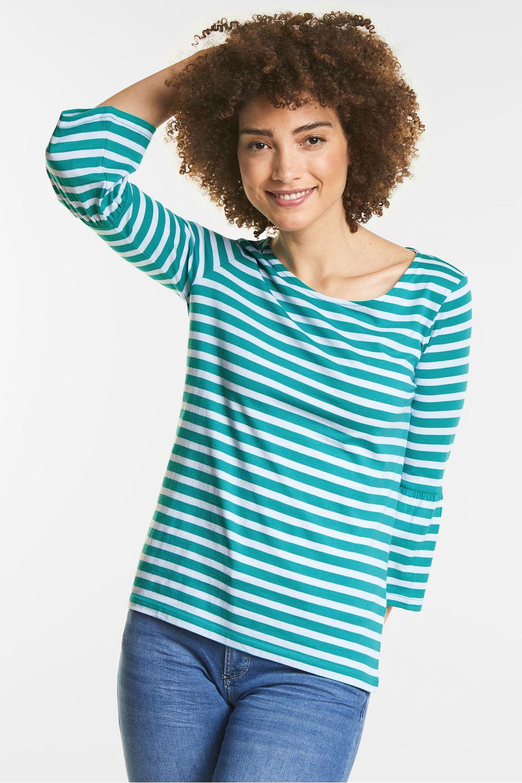 Weiches Streifenshirt  - sunny aqua