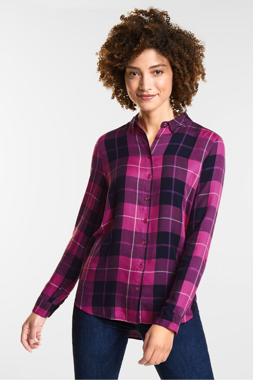 Geruite blouse - dark electric pink